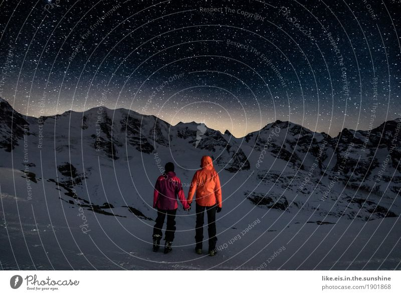 My hand in your.... Vacation & Travel Winter Winter vacation Sportsperson Hiking Skis Masculine Feminine Couple Partner Life 2 Human being Environment Night sky
