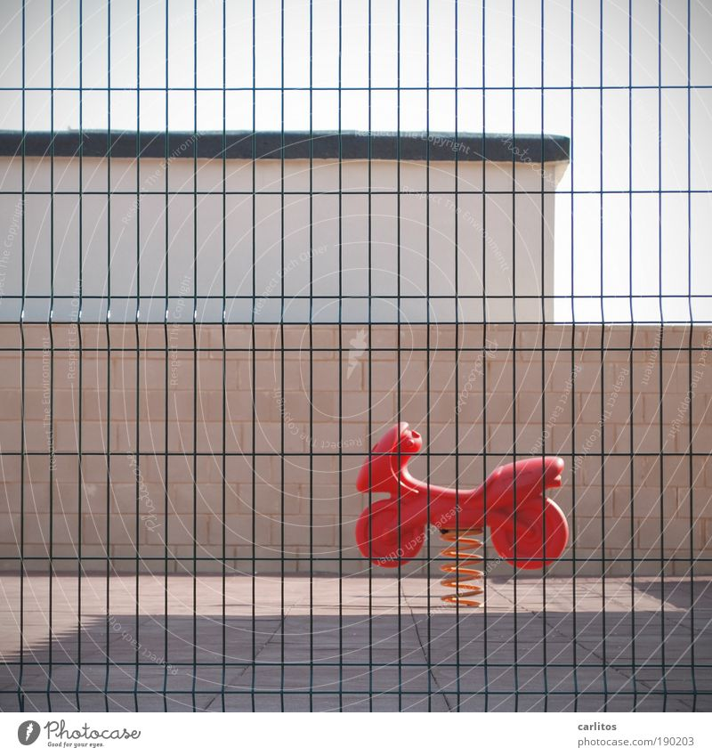 children's paradise Playing Summer vacation Sporting Complex Infancy Sunlight Playground Wall (barrier) Wall (building) To swing Romp Simple Hideous Gloomy Red