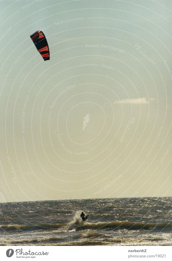 kitesurfer Surfer Ocean Sports North Sea Water Wind Kiting