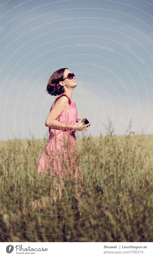 salvation Joy Happy Healthy Life Feminine Young woman Youth (Young adults) 1 Human being Sky Spring Summer Dress Sunglasses Brunette Camera Walking Dream