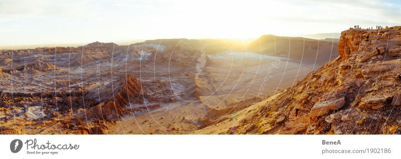 Tourists enjoy sunset over Moon Valley, Atacama Desert Vacation & Travel Sightseeing Human being Nature Sand Discover Experience Tourism Environment