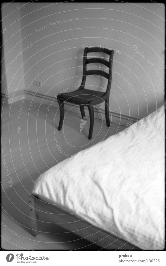 Loneliness Room Penitentiary Flat (apartment) Arrangement Bed Chair Living or residing Furniture Boredom Wooden floor Bedroom Old building Modest Black & white photo Prison cell