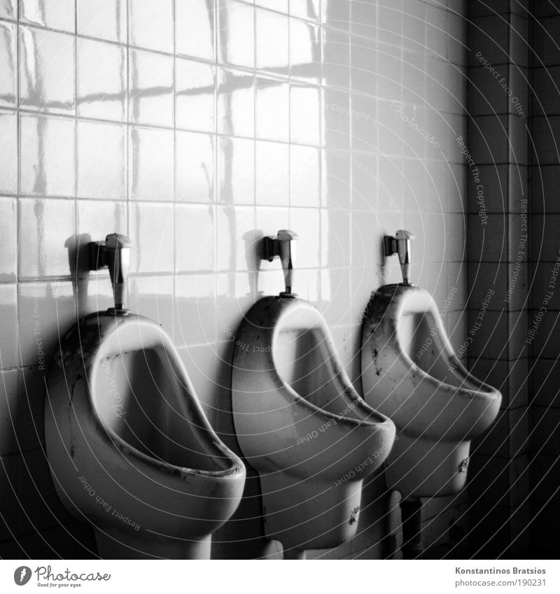 Toi Toi Toi Industrial plant Factory Toilet Urinal Old Dirty Dark Tile 3 Seam Line Corner Flush Black & white photo Interior shot Copy Space top Light Shadow