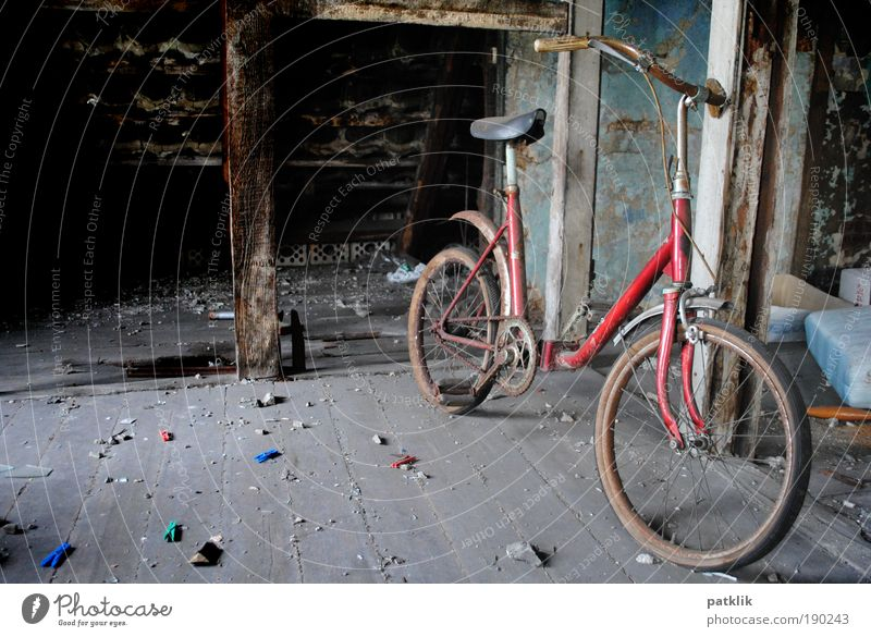 Find of the week Retro Discovery Attic attic find Bicycle Forget Loneliness Red Pedal Handlebars Tire Saddle Old Dust Dirty Going Contrast Doomed Remainder