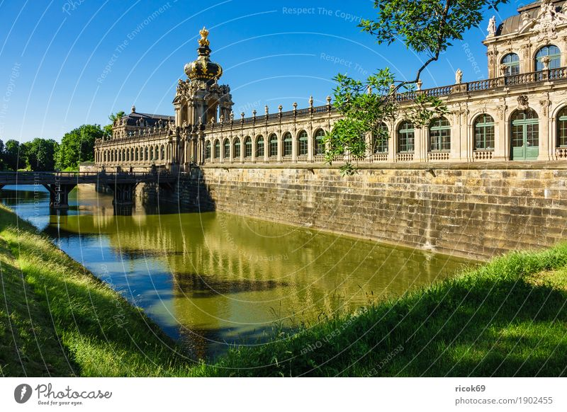 View of the Zwinger in Dresden Vacation & Travel Tourism Capital city Old town Bridge Building Architecture Tourist Attraction Historic Green Tradition Saxony
