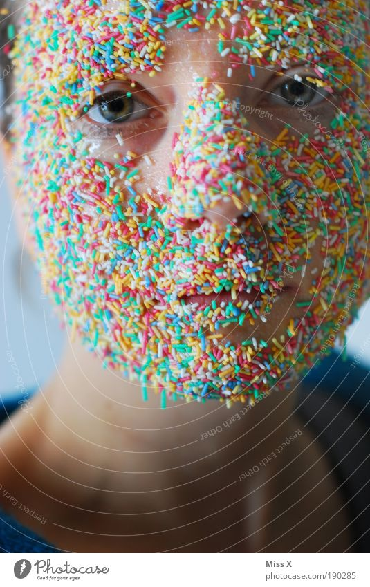 Human being Youth (Young adults) Adults Eyes Young woman Small Head Face 18 - 30 years Food Mouth Crazy Portrait photograph Nutrition Sweet Looking