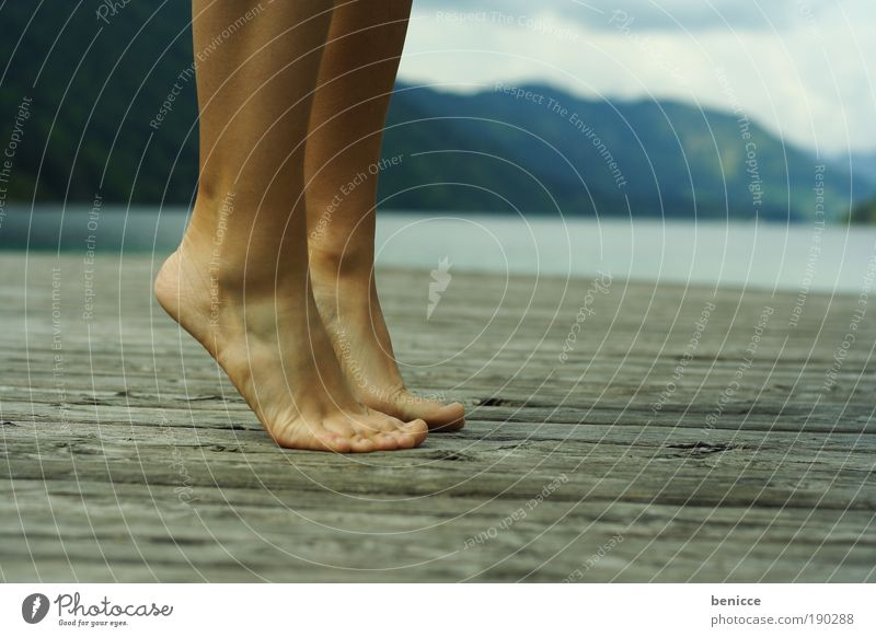 Woman Human being Water Summer Vacation & Travel Loneliness Above Mountain Lake Legs Action Feet Footbridge Austria Artist Ballet