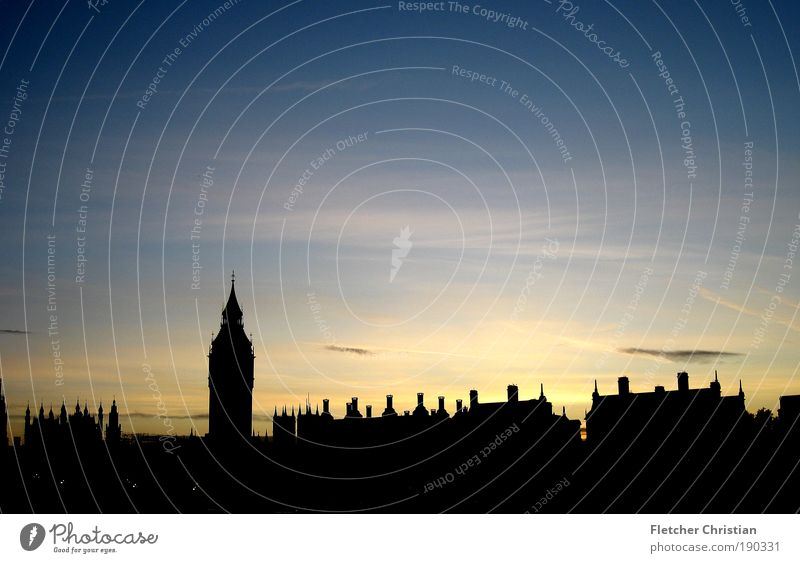 Big Ben's Skyline River bank Themse London England Great Britain Europe Capital city Port City Downtown Populated House (Residential Structure) Clock tower Roof