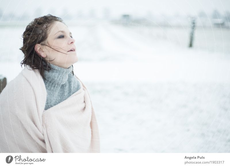 Human being Woman Nature White Winter Adults Cold Emotions Feminine Snow Gray Pink Wind To enjoy Freeze Cuddly