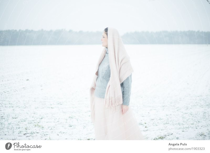 Human being Woman Nature White Landscape Winter Adults Cold Emotions Feminine Snow Gray Pink Field Fog Observe