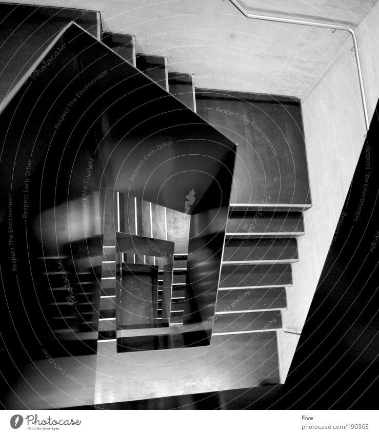 House (Residential Structure) Cold Wall (building) Wall (barrier) Building Design Tall Stairs Reflection Banister Staircase (Hallway) Sharp-edged Black & white photo Light