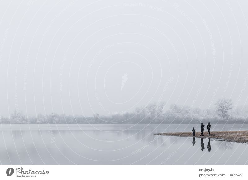 Three Winter Child Boy (child) Parents Adults Mother Father Family & Relations 3 Human being Nature Landscape Sky Horizon Fog Ice Frost Lakeside Stand Cold
