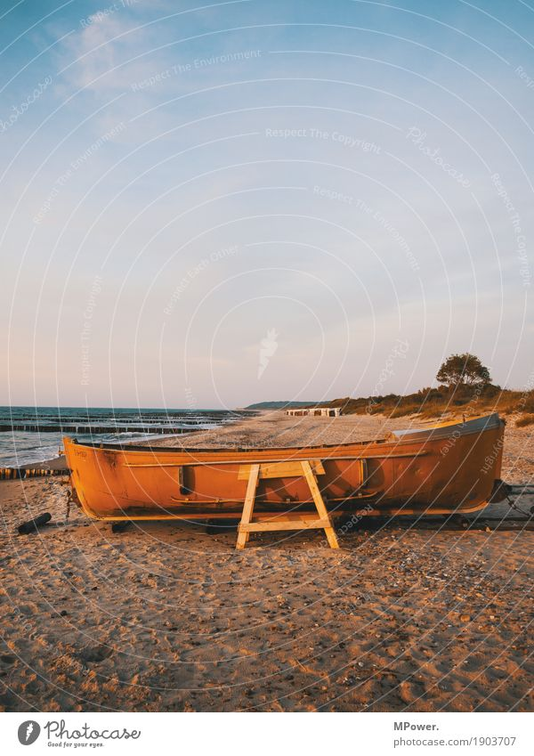 fishing boat Environment Nature Sky Clouds Summer Waves Coast Beach Baltic Sea Ocean Watercraft Navigation Boating trip Motorboat Dinghy Old Sand Tree