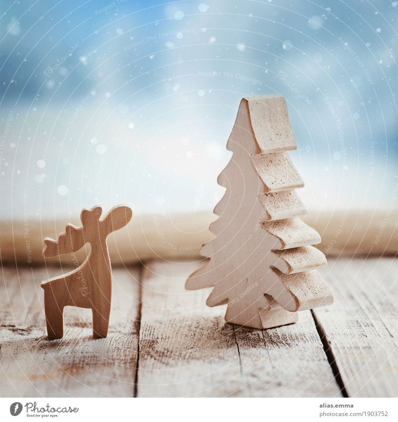 Waiting for Christmas 2017 :) Christmas & Advent Winter Reindeer Wood Window Card Snow Snowfall Snowflake Tree Christmas tree Natural Rustic Elk Material