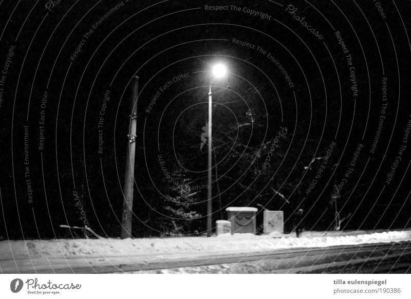 White Winter Calm Black Street Cold Snow Funny Illuminate Lantern Inspiration Pedestrian Smiley Outskirts Lamp post Black & white photo