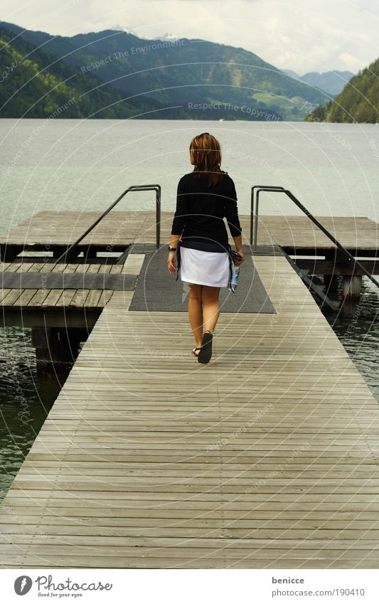 flex Woman Human being Footbridge Lake Pond Mountain Go To go for a walk Corridor Going youthful Water Summer Spring Jacket Skirt Wood Loneliness Vantage point