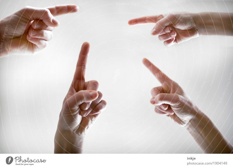 There, there, there, orientation. Lifestyle Leisure and hobbies Human being Hand Fingers Forefinger 4 Group Communicate Equal Complex Teamwork Irritation Target