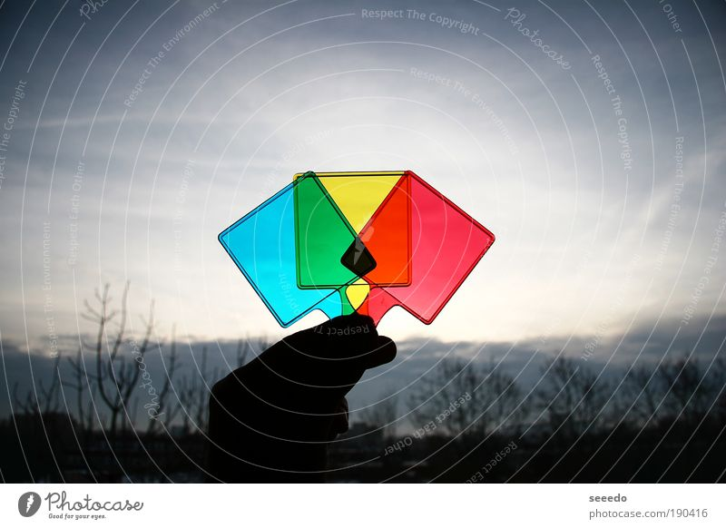 Lights and Colours Sky Blue Green Red Clouds Yellow Dark Multicoloured Sign Square Structures and shapes Sharp-edged Symmetry RGB Morning