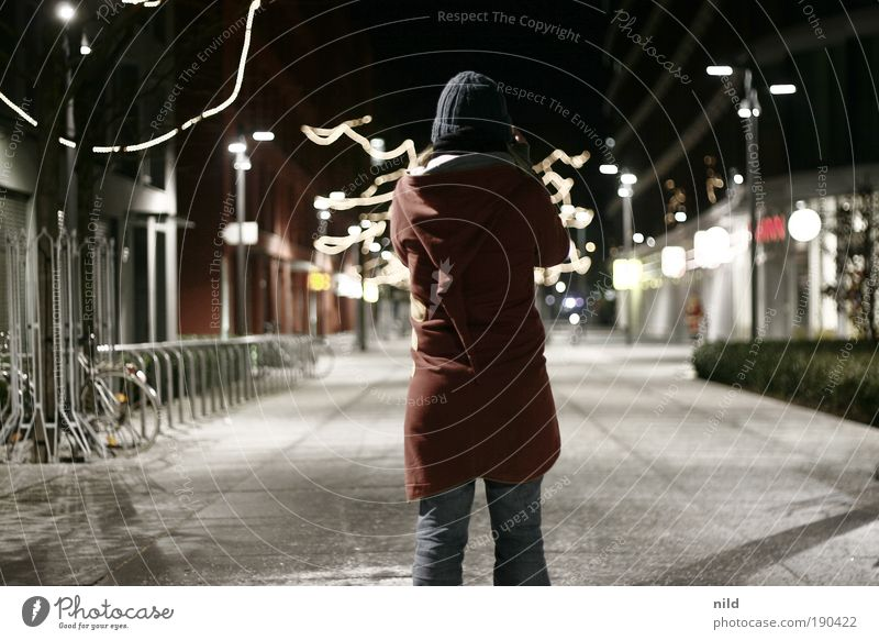 out and about at night Human being Feminine Young woman Youth (Young adults) 1 Cold Take a photo Lighting Pedestrian precinct Town Munich Cap Hooded (clothing)