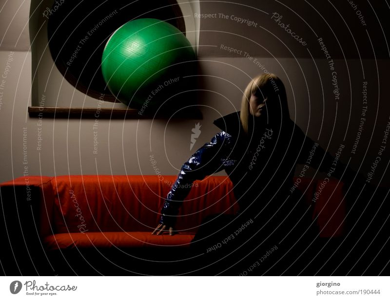 moon phase attitude Woman Blue Green Red Colour Window Architecture Fashion Background picture Blonde Power Interior design Hair Cool (slang) Ball Jacket