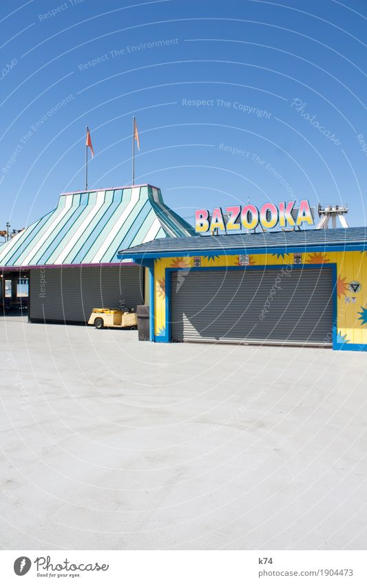 Santa Cruz Boardwalk - Bazooka Joy Playing Fairs & Carnivals Roof Rolling door Characters Signs and labeling Fresh Positive Blue Yellow Pink Turquoise
