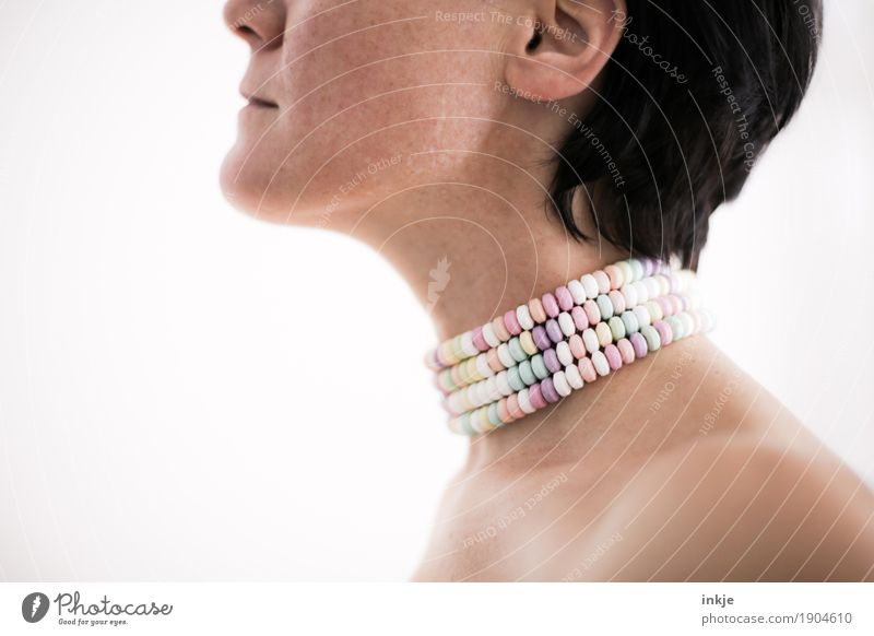 Z U C K E R IV Candy Lifestyle Style Healthy Woman Adults Body Face Shoulder Neck 1 Human being Necklace Sugar perl Nonpareilles Sweet Excess Bright background
