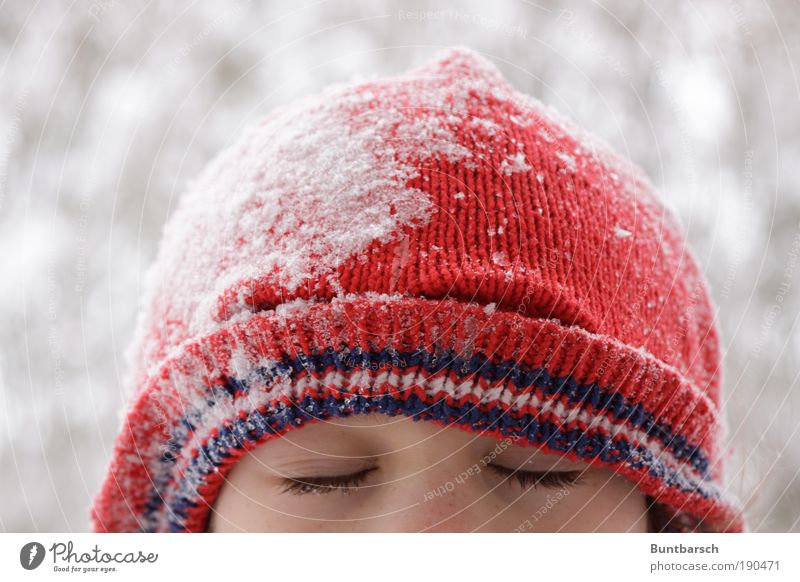 Human being Child Girl Red Joy Winter Face Calm Cold Snow Relaxation Feminine Playing Dream Head