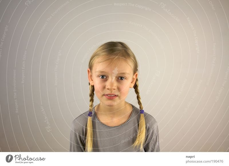 Right in the middle Schoolchild Girl Infancy 1 Human being 8 - 13 years Child Blonde Long-haired Braids Free Beautiful Natural Cute Gray Safety (feeling of)