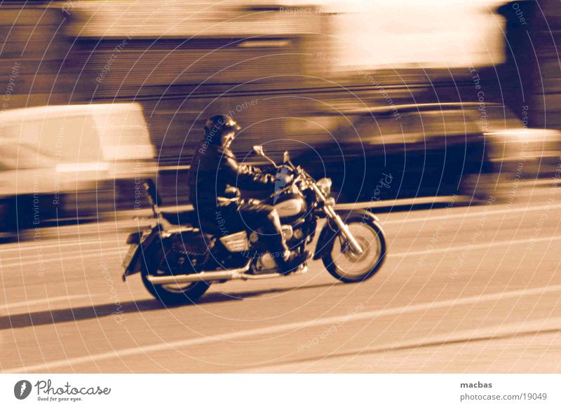 Head out on the highway... Motorcycle Motorcyclist Camp follower Vintage car Town Transport harley Movement away Street Energy industry Human being Old