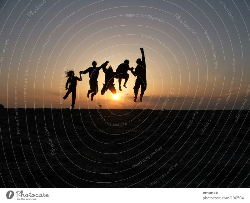 Sunset Human being Nature Youth (Young adults) Silhouette Sun Vacation & Travel Summer Joy Beach Evening Freedom Jump Happy Group