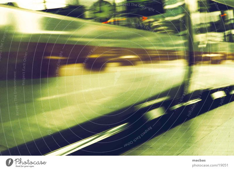 Green City Movement Metal Germany Transport Railroad Energy industry Speed Driving Technology Industrial Photography Platform