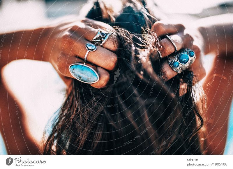 Close up of Women with bohemian style Jewelry rings Human being Woman Youth (Young adults) Summer Beautiful Young woman Hand Eroticism Beach Adults Lifestyle Feminine Style Fashion Hair and hairstyles Design