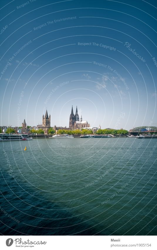 Cologne Water Sky Clouds Summer Beautiful weather River bank Downtown Skyline Dome Bridge Tourist Attraction Happy Colour photo Multicoloured Exterior shot