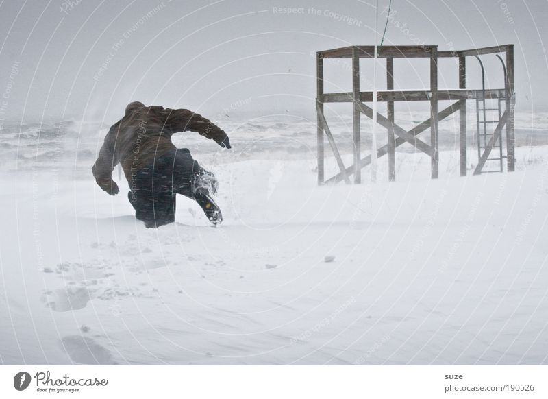 SNOWMAN Adventure Expedition Human being Masculine Man Adults 1 18 - 30 years Youth (Young adults) Environment Nature Landscape Sky Winter Climate Storm Wind