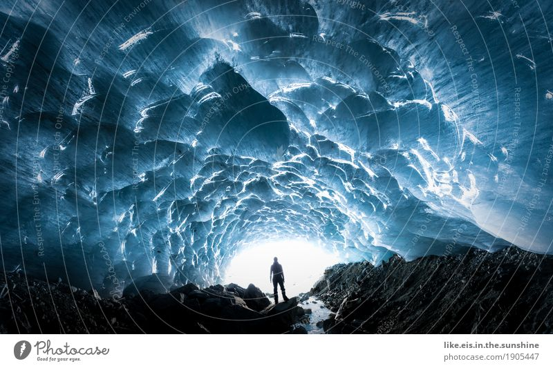 fantastic ice chapel. Adventure Androgynous Woman Adults Man 1 Human being Environment Nature Elements Winter Climate Ice Frost Snow Alps Mountain Glacier