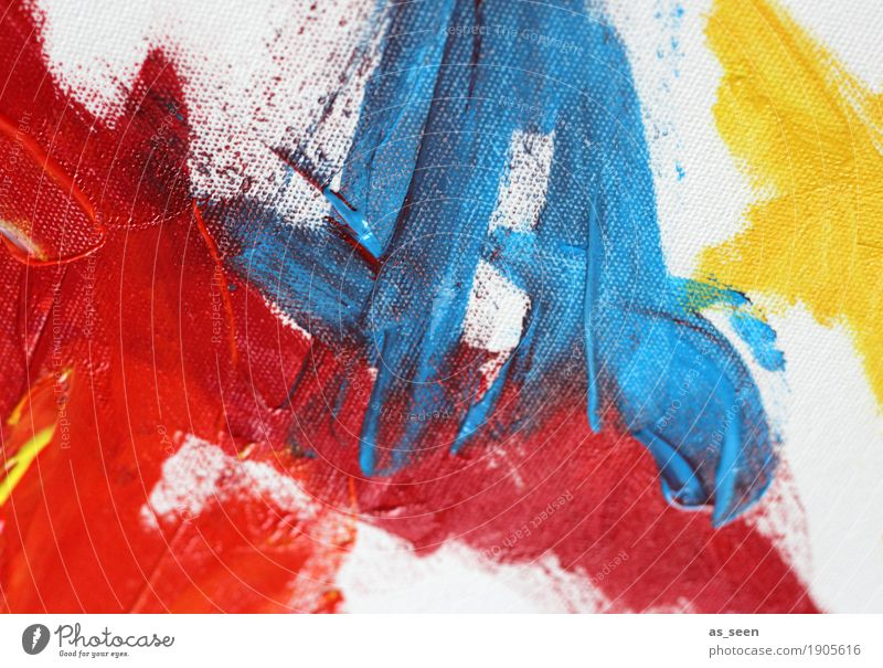 Red Blue Yellow Art Painter Work of art Painting and drawing (object) Culture Touch Illuminate Fresh Modern Original Emotions Moody Power Passion Esthetic