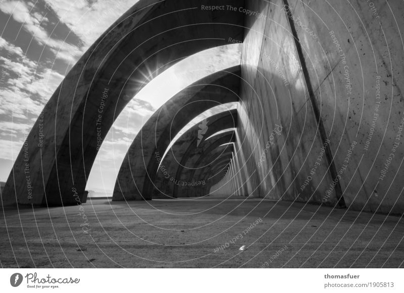 Loneliness Architecture Wall (building) Sadness Feminine Wall (barrier) Horizon Modern Future Concrete Bridge Protection Manmade structures Harbour Pain Long