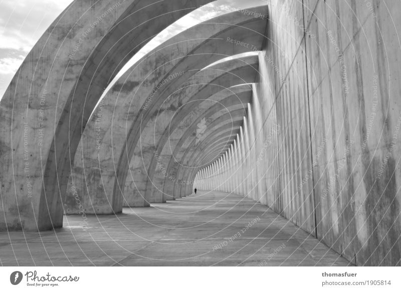 Human being Town Loneliness Far-off places Architecture Wall (building) Building Wall (barrier) Exceptional Gray Europe Perspective Concrete Infinity Spain
