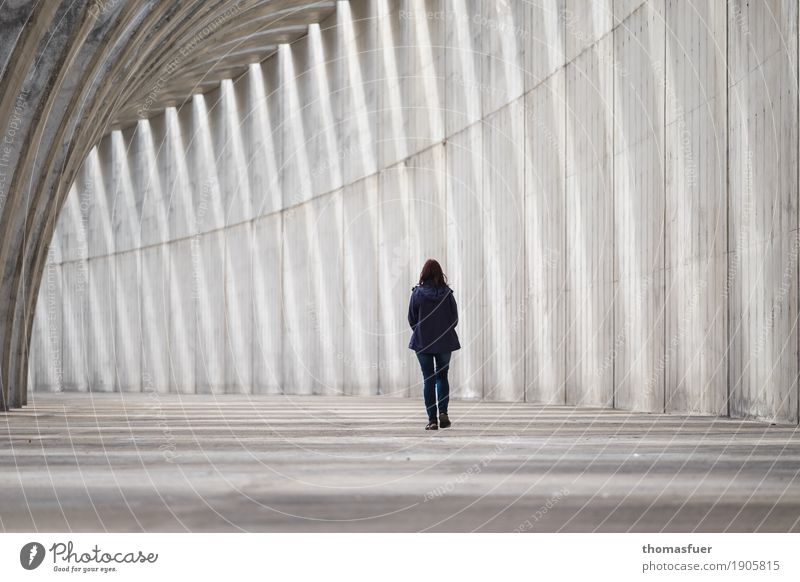 Human being Woman Loneliness Adults Architecture Wall (building) Sadness Feminine Wall (barrier) Gray Going Body Modern Gloomy Concrete Manmade structures