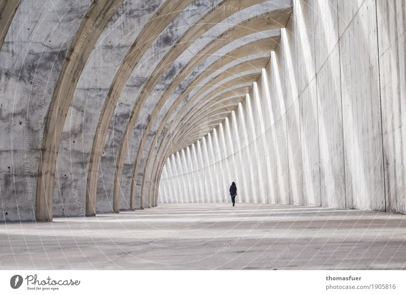 Human being Town Loneliness Architecture Wall (building) Cold Lanes & trails Feminine Wall (barrier) Exceptional Gray Going Perspective Large Concrete