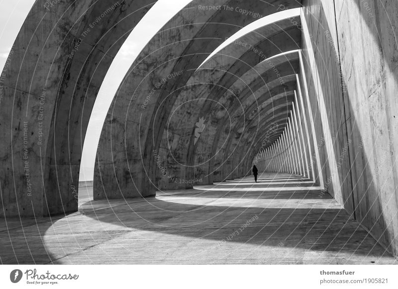 tunnel, breakwater, concrete, arches, woman Far-off places Sightseeing Summer Ocean Island Feminine Woman Adults 1 Human being Beautiful weather Harbour