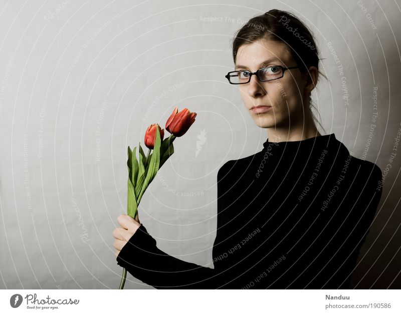 Human being Woman Youth (Young adults) Adults Feminine Flower 18 - 30 years Young woman Thin Bouquet Tulip Agree Earnest Valentine's Day Nerdy Person wearing glasses