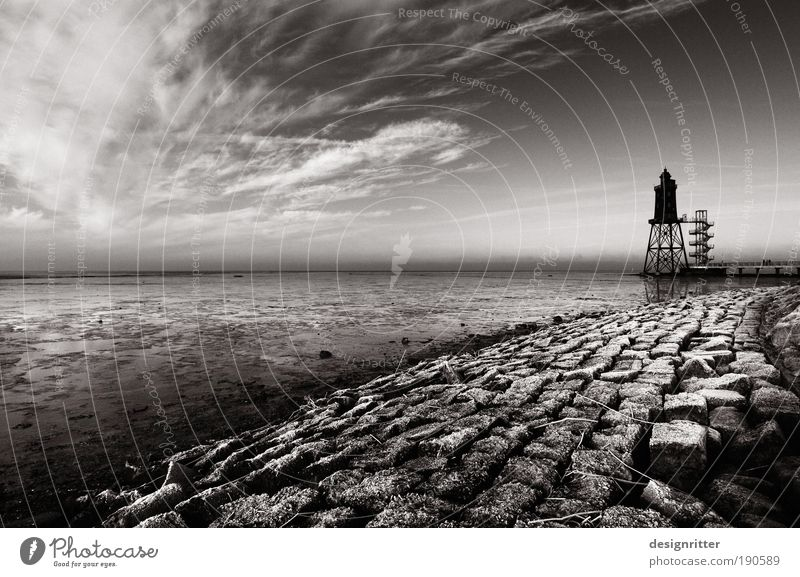 Sky Ocean Winter Vacation & Travel Calm Clouds Land Feature Black & white photo Coast Fear Weather Safety Dangerous Tower Climate Protection