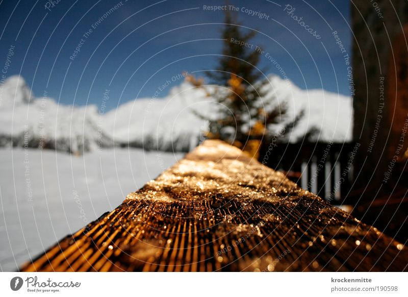 Sky Christmas & Advent White Tree Winter Mountain Wood Ice Vantage point Romance Star (Symbol) Frost Alps Balcony Hut Switzerland
