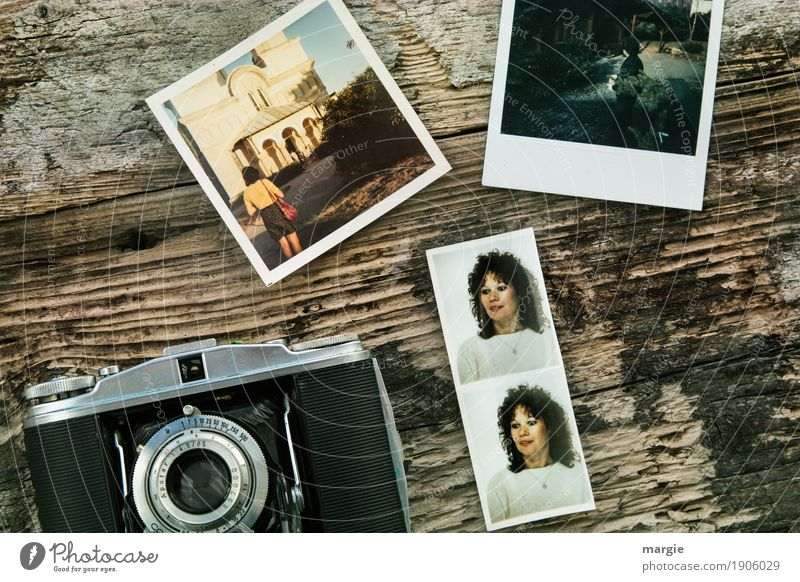 Analogue memories, photos of a girl, old photo paper Leisure and hobbies Vacation & Travel Tourism Trip Adventure Far-off places Sightseeing Human being