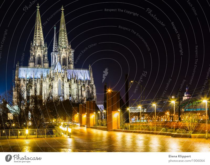 Cologne Cathedral at night Germany Europe Town Port City Downtown Old town Skyline Populated Church Dome Facade Tourist Attraction Landmark Monument