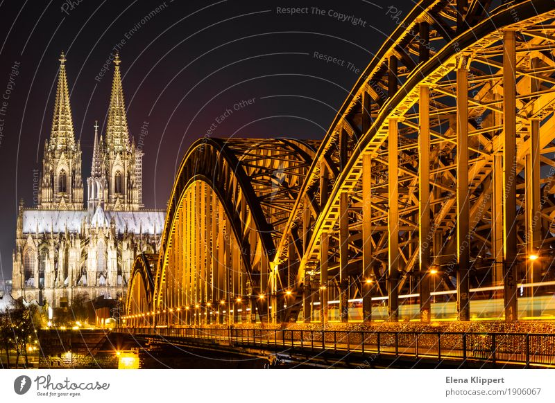 Cologne Cathedral and Hohenzollern Bridge at night Winter Germany Europe Town Port City Downtown Old town Skyline Populated Church Dome Manmade structures