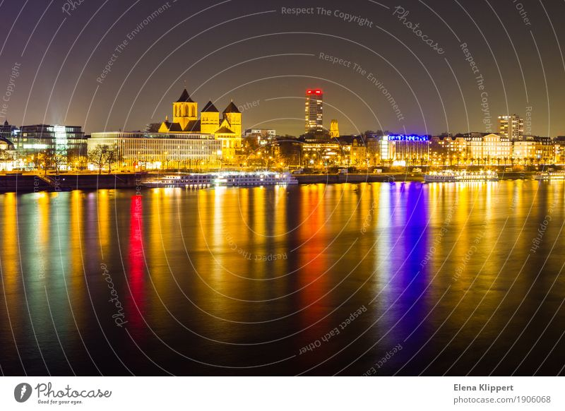 Rhine bank in Cologne at night Landscape Winter River bank Germany Europe Town Port City Downtown Skyline Populated House (Residential Structure) Church Harbour