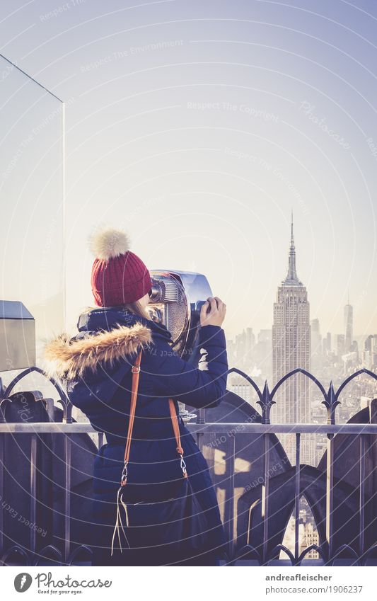 Human being Vacation & Travel Youth (Young adults) Young woman Winter 18 - 30 years Adults Cold Feminine Freedom Tourism Trip High-rise Vantage point Observe Curiosity
