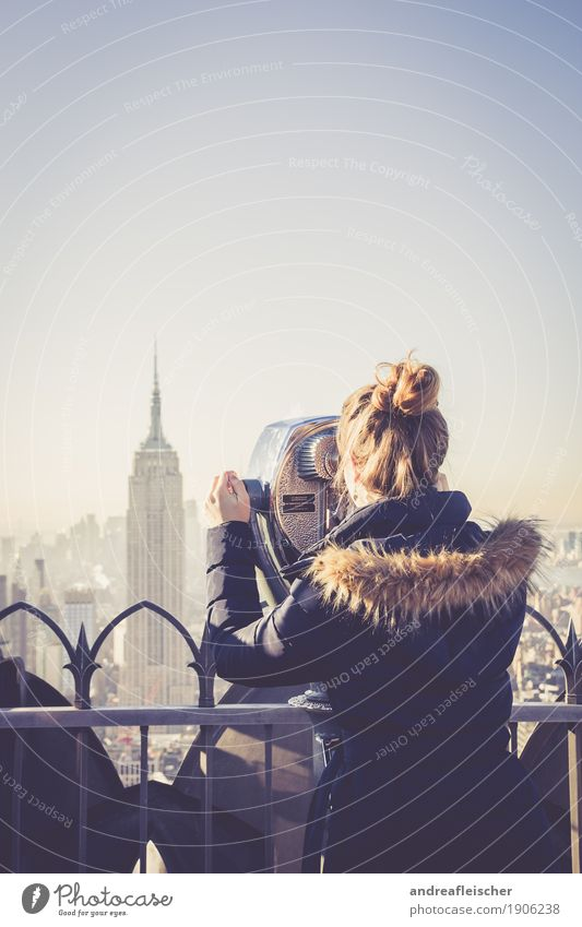 All The Way Up. New York, New York Contentment Vacation & Travel Tourism Trip Far-off places Freedom Sightseeing City trip Winter Feminine Young woman